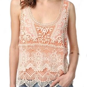 Urban Outfitters cream tangerine crochet lace tank